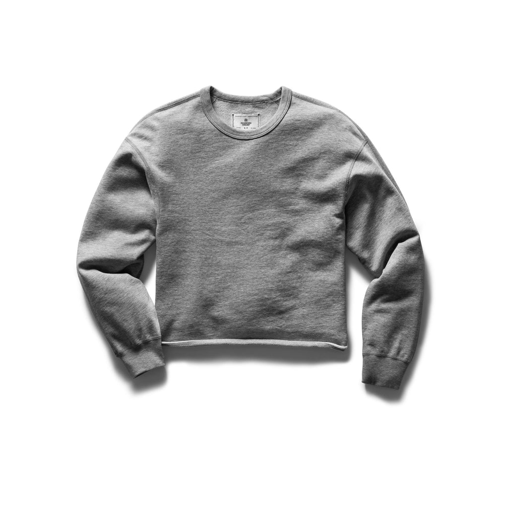 Reigning Champ Terry Cropped Crewneck, Heather Grey