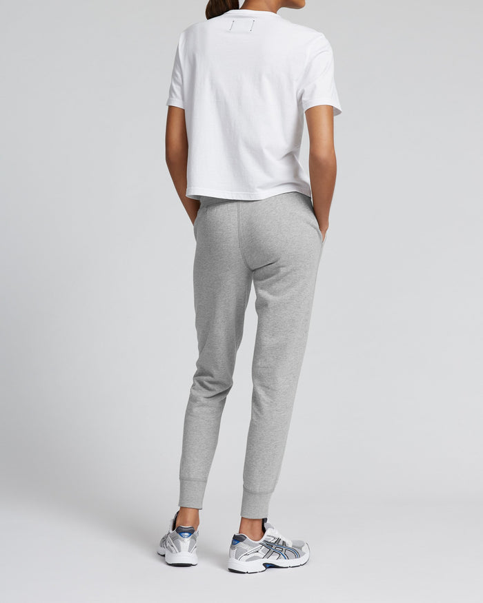Reigning Champ Women's Knit Pima Terry Slim Sweatpant, Heather Grey