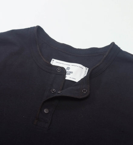 Reigning Champ Ringspun Jersey LS Henley, Black