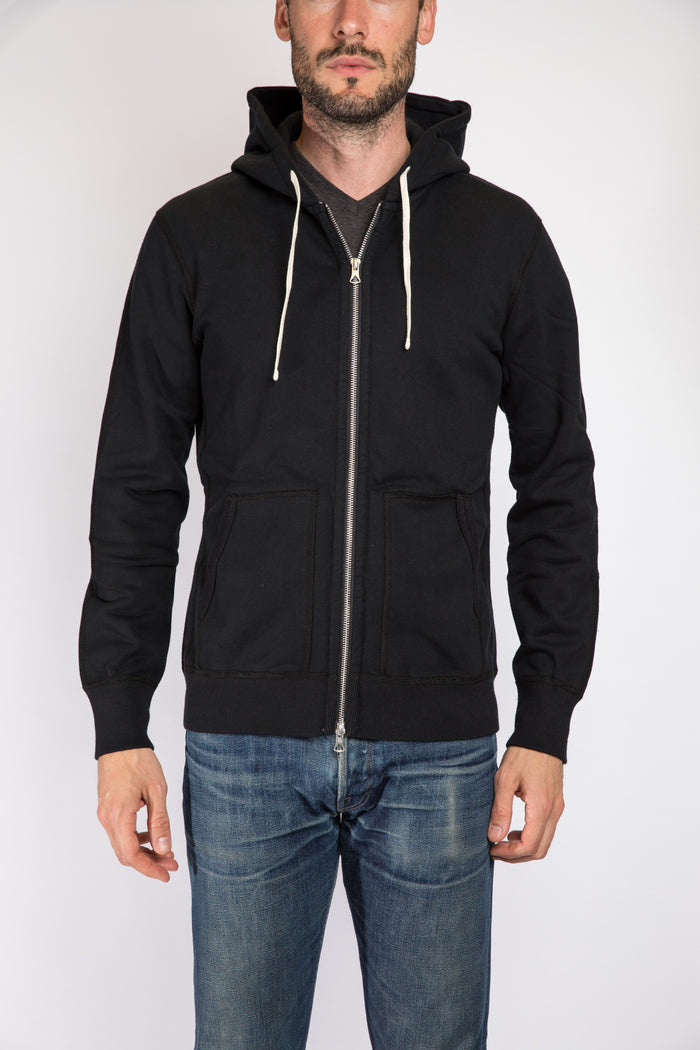 Reigning Champ Full Zip Hoodie, Black | Portland Dry Goods | Front
