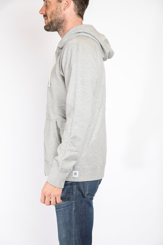 Reigning Champ Full Zip Hoodie, Heather Grey | Portland Dry Goods | Side