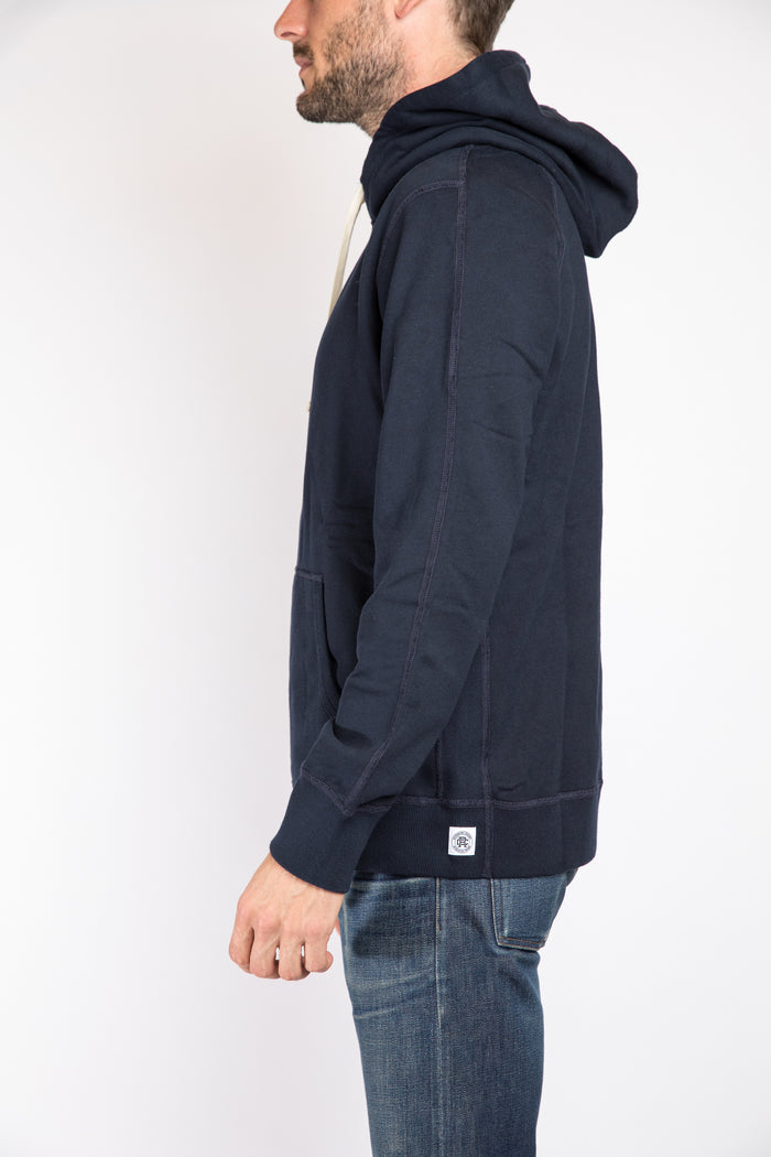 Reigning Champ Pullover Hoodie, Navy | Portland Dry Goods | Flat back