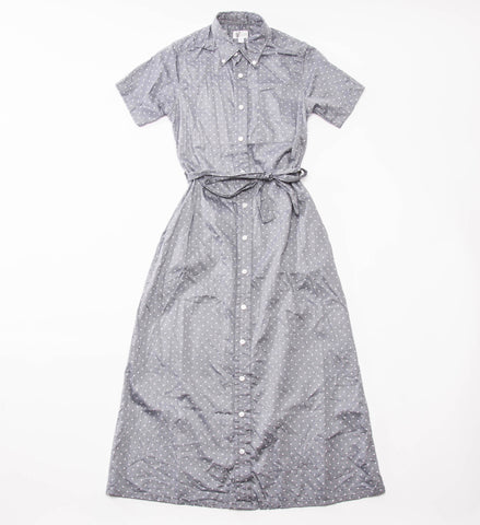 FWK Button Down Shirt Dress, Grey Polka Dot