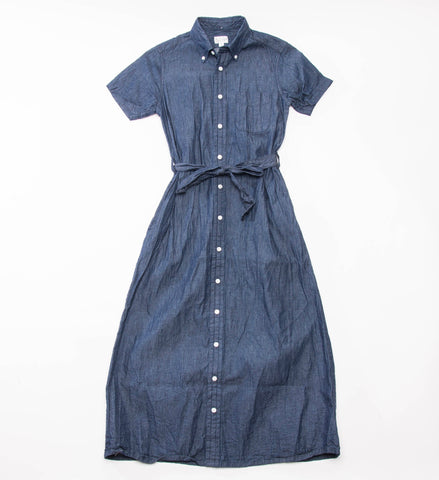 FWK Button Down Shirt Dress, Indigo Lt. Weight Denim