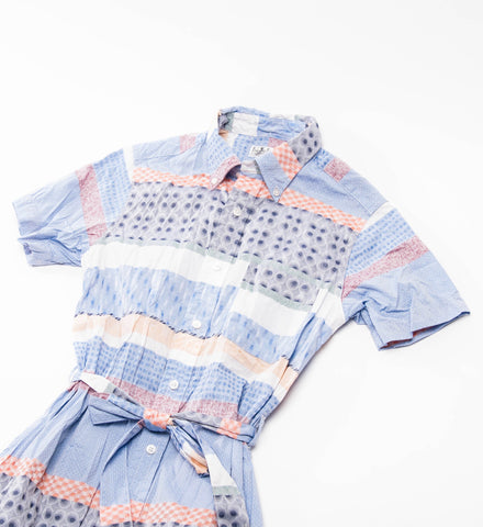 FWK Button Down Shirt Dress, Multi Pattern Block