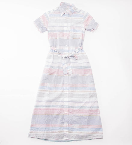 FWK Button Down Shirt Dress, White Dobby Stripe