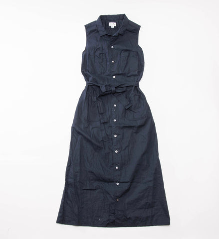 FWK Classic Shirt Dress, Navy Cotton Linen Sheeting