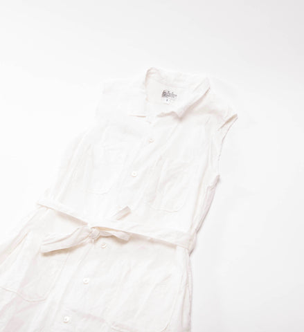 FWK by Engineered Garments Classic Shirt Dress, White Cotton/Linen Sheeting