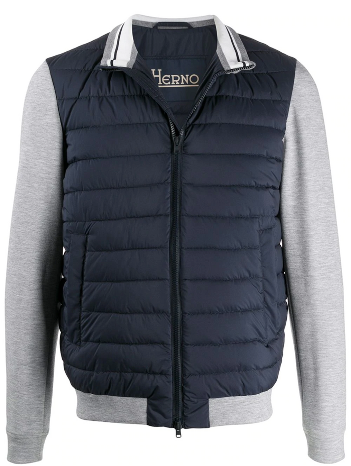 Herno Down Jersey Hoodie Zip Front Jacket, Navy/Grey
