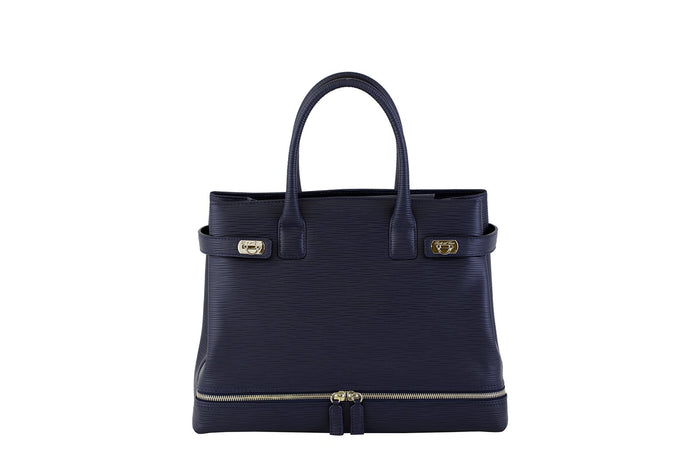 Scuola del Cuoio Textured Calfskin Double Zipped Handbag, Navy Blue
