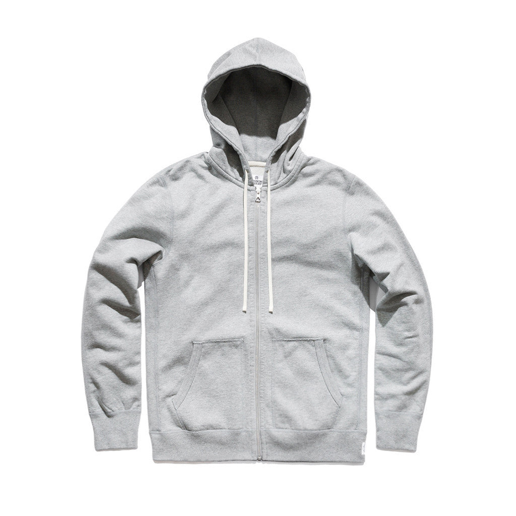 Reigning Champ Full Zip Hoodie, Heather Grey