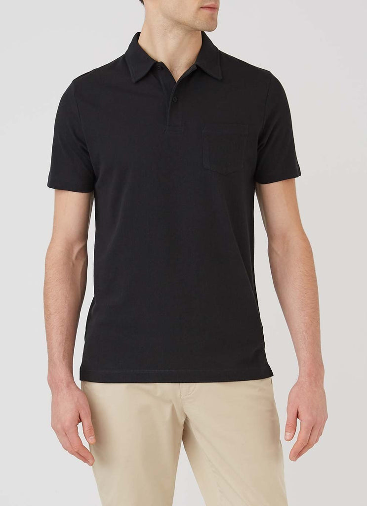 Sunspel Riviera Polo Shirt, Black