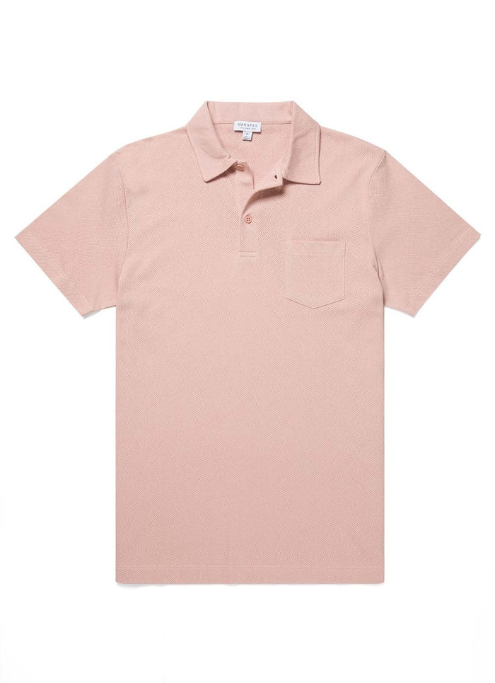 Sunspel Riviera Polo Shirt, Dusty Pink