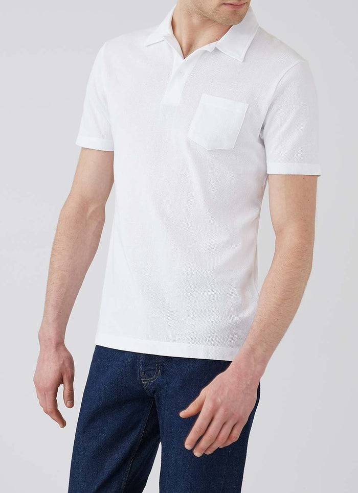 Sunspel Riviera Polo Shirt, White