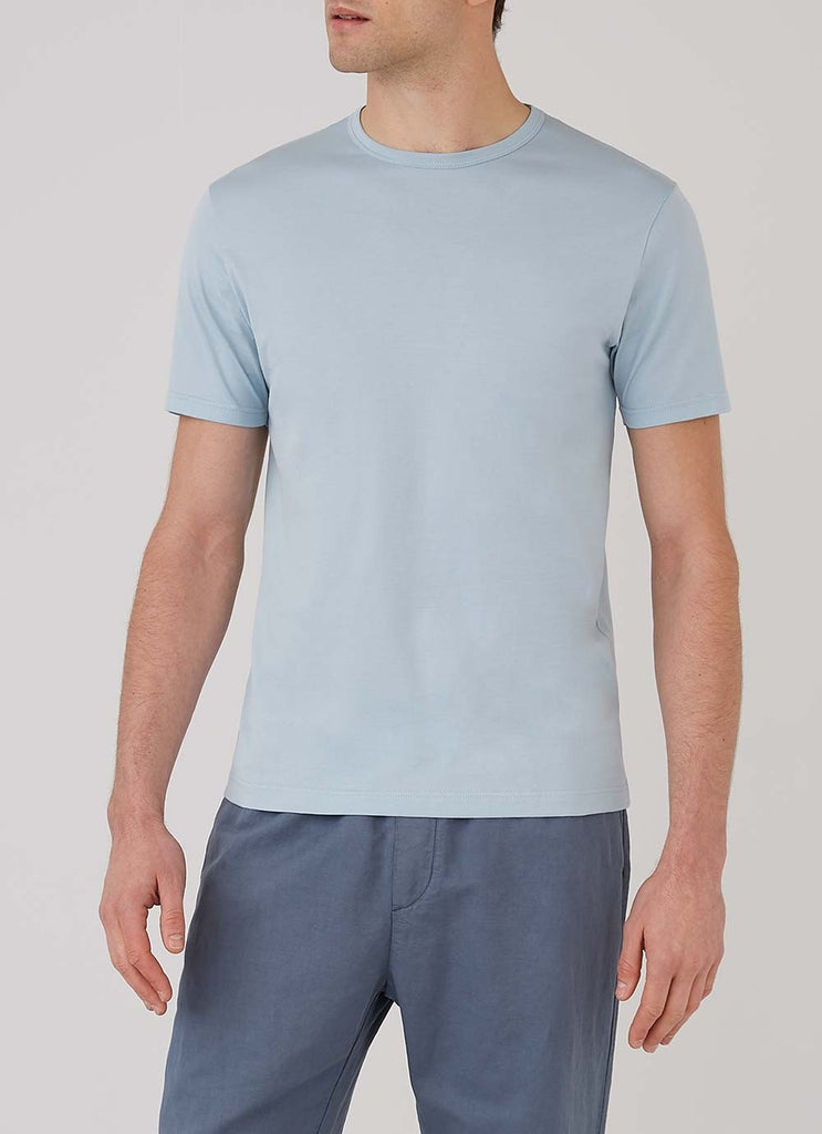 Sunspel SS Crew Neck T-Shirt, Blue Jeans