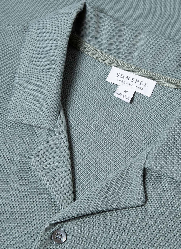 Sunspel Short Sleeve Pique Shirt, Sage
