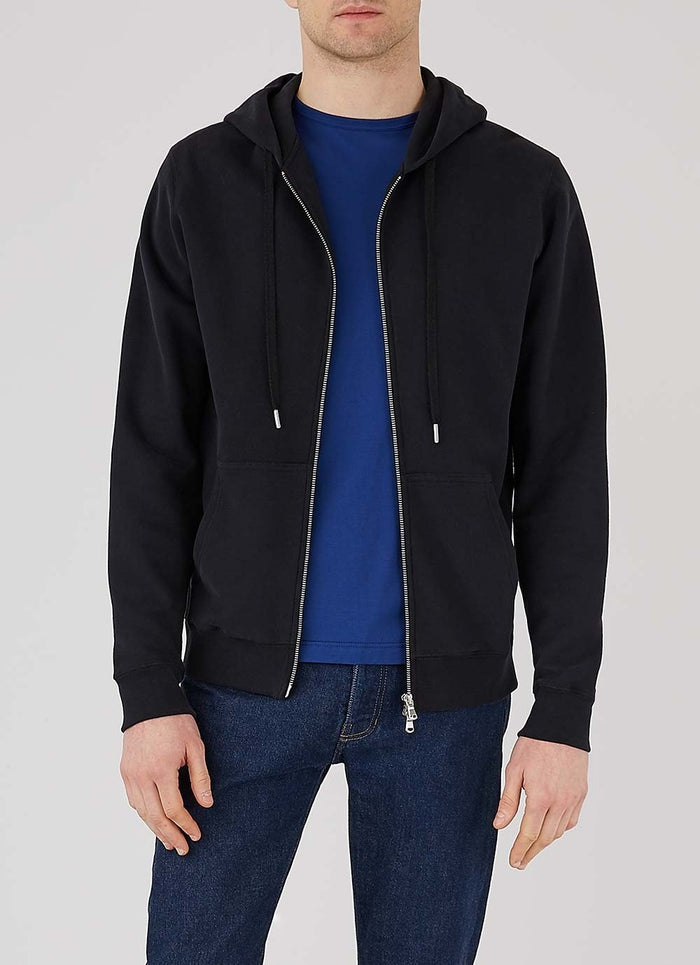 Sunspel Zip Hoody, Black