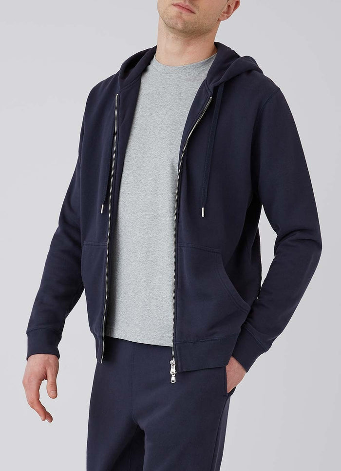 Sunspel Zip Hoody, Navy