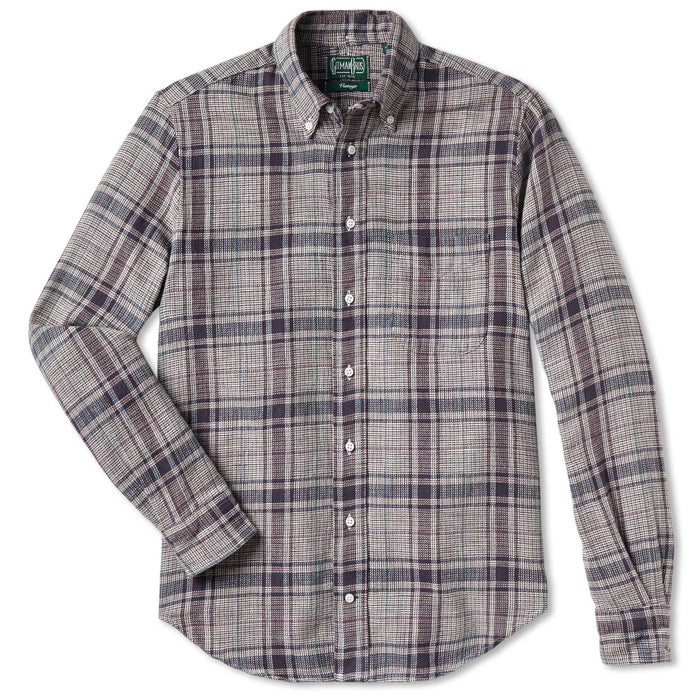 Gitman Cotton Tweed Check Shirt, Navy