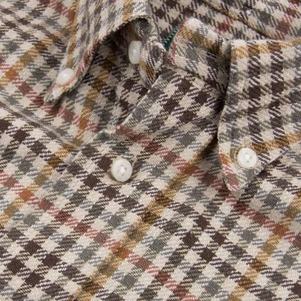 Gitman Cotton Gingham Check Shirt, Brown