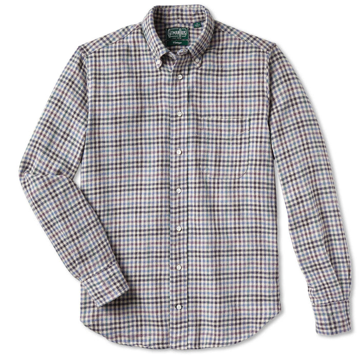 Gitman Cotton Gingham Check Shirt, Navy