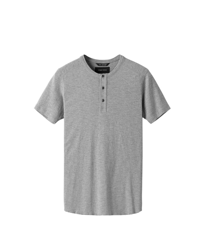 Wings + Horns Slub Short Sleeve Henley , Heather Grey