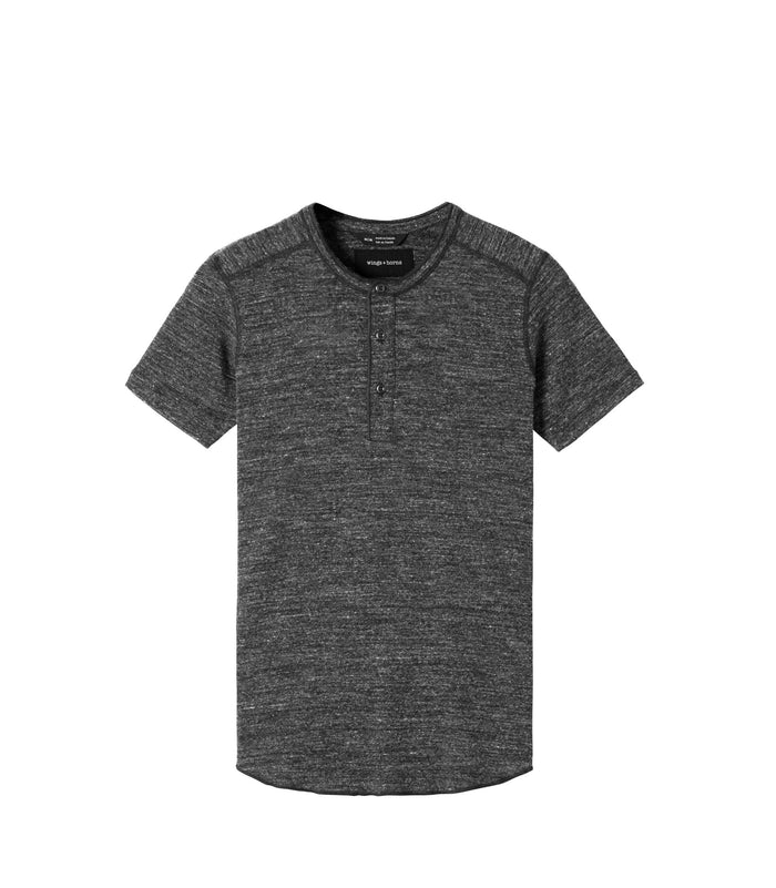 Wings + Horns Slub Short Sleeve Henley , Marled Black