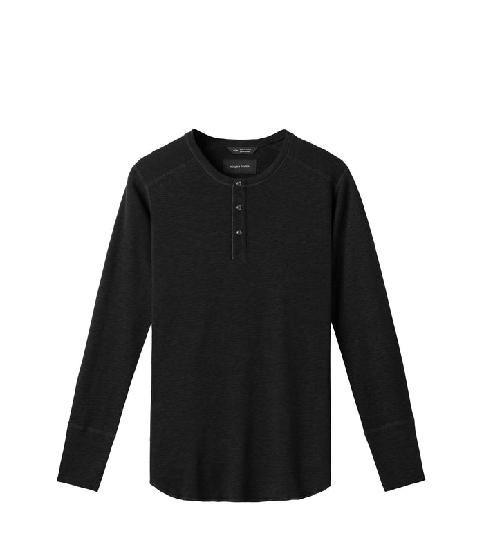 Wings + Horns Slub Long Sleeve Henley , Black