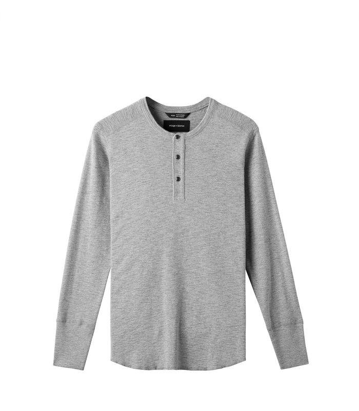 Wings + Horns Slub Long Sleeve Henley , Heather Grey