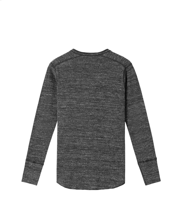 Wings + Horns Slub Long Sleeve Henley , Marled Black