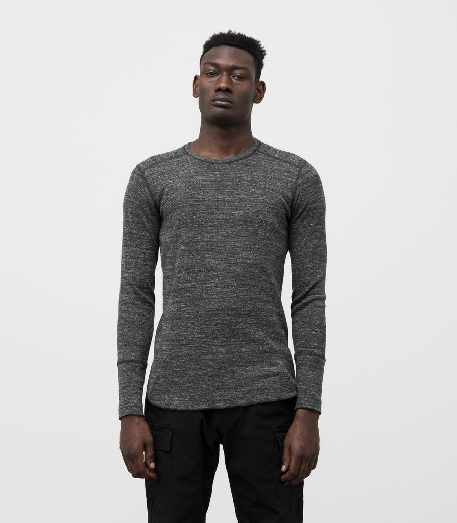 Wings + Horns Slub Long Sleeve, Marled Black