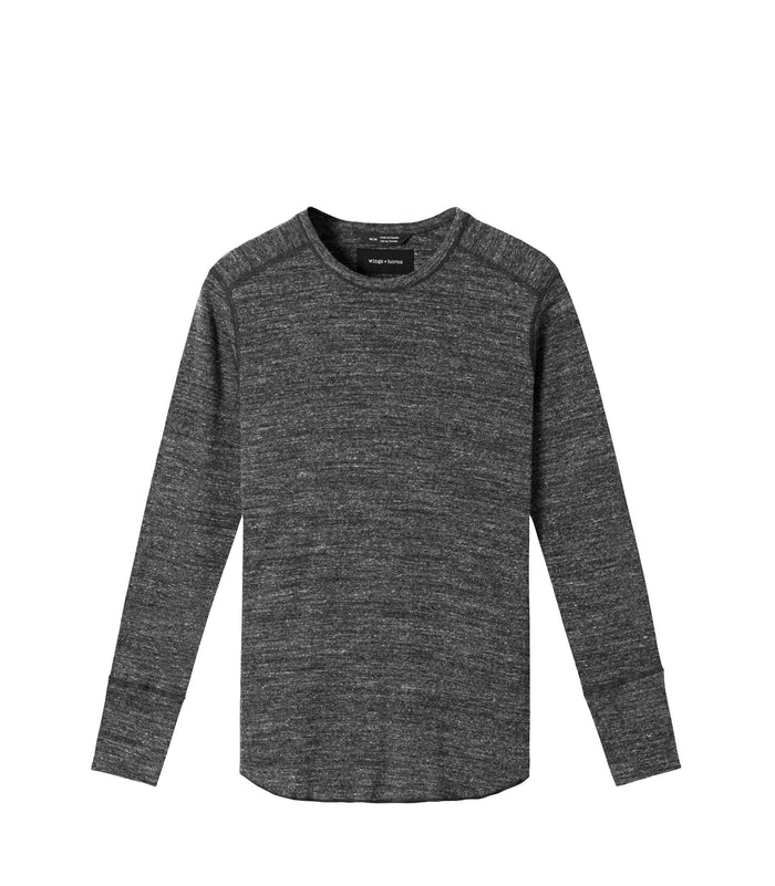Wings + Horns Slub Long Sleeve , Marled Black