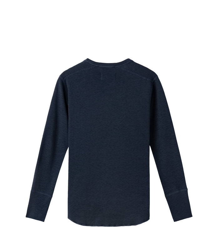 Wings + Horns Slub Long Sleeve Henley , Navy