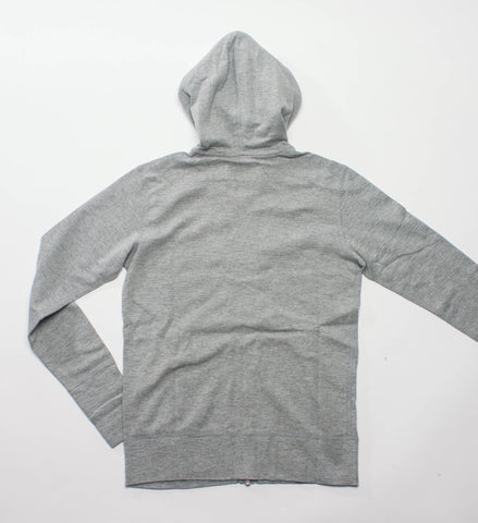 Wings + Horns Knit Slub Rib Zip Hoodie, Heather Grey
