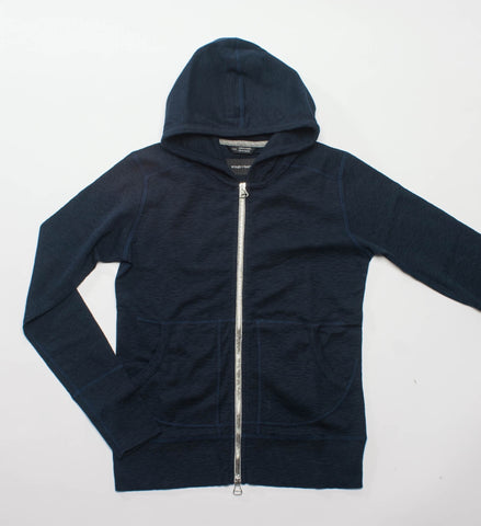 Wings + Horns Knit Slub Rib Zip Hoodie, Navy
