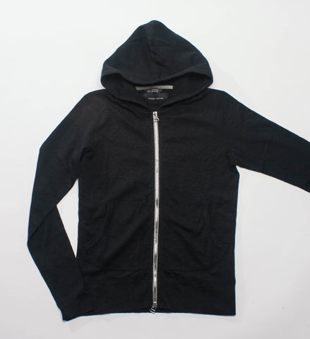 Wings + Horns Knit Slub Rib Zip Hoodie, Black