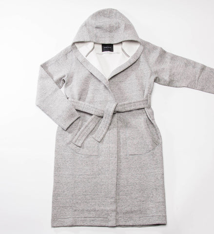 Wings + Horns Knit Cabin Fleece Robe, Heather Grey