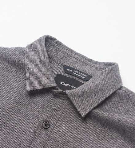 Wings + Horns Flannel Officer Shirt, Black