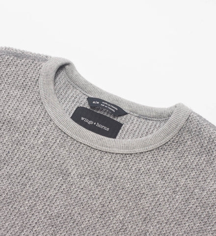 Wings + Horns Knit Wool Crewneck, Grey