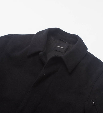 Wings + Horns Melton Wool Mac Coat, Black