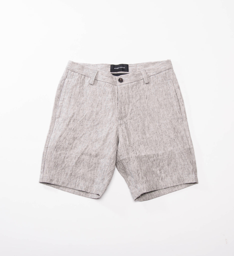 wings+horns Woven Washed Linen Officer Short, Ash Grey