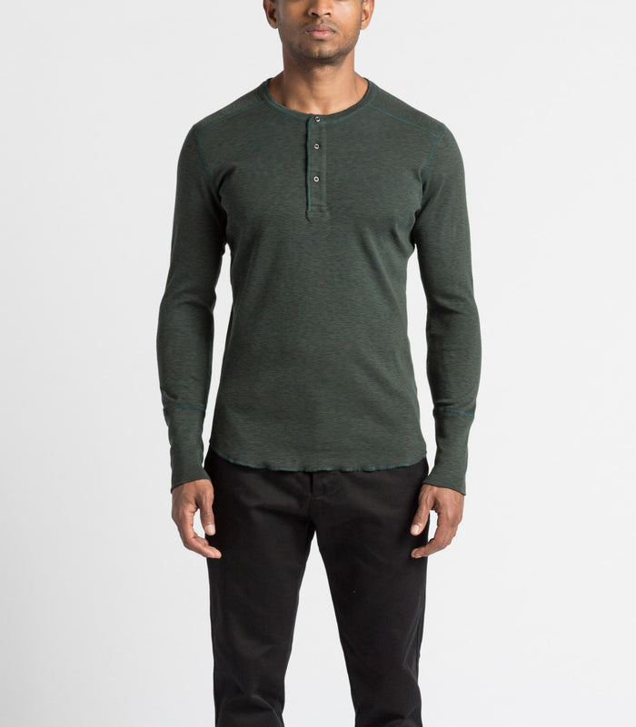 Wings and Horns 1x1 Slub Long Sleeve Cotton Henley jungle green