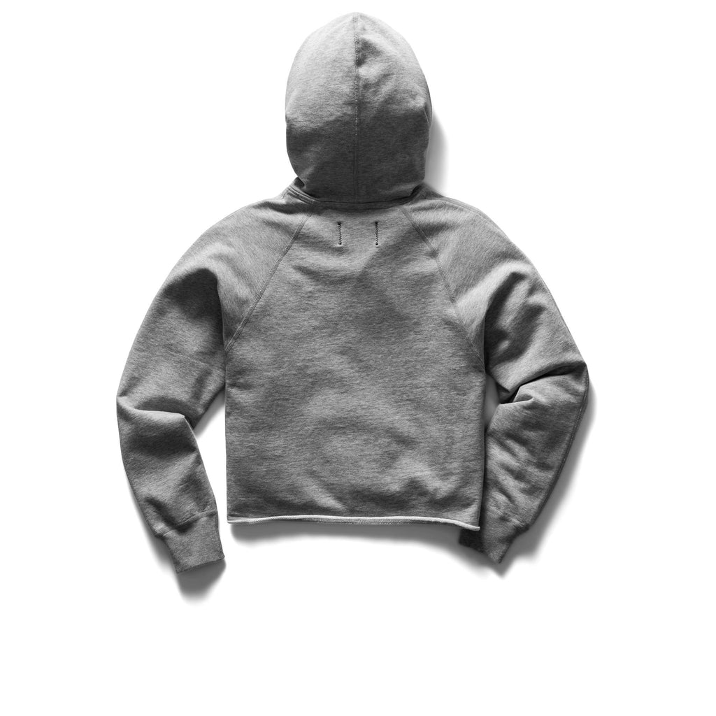 Women's Knit Pima Terry Cropped Po Hoodie, Heather Grey