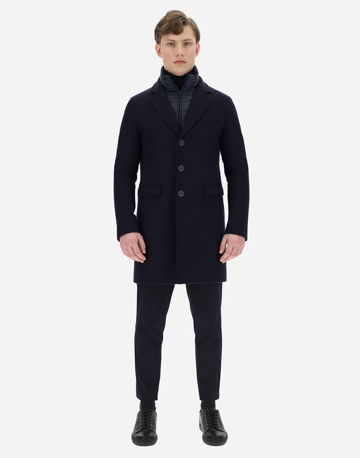 Herno Diagonal Wool Coat (CA0045U), Blue Chiaro