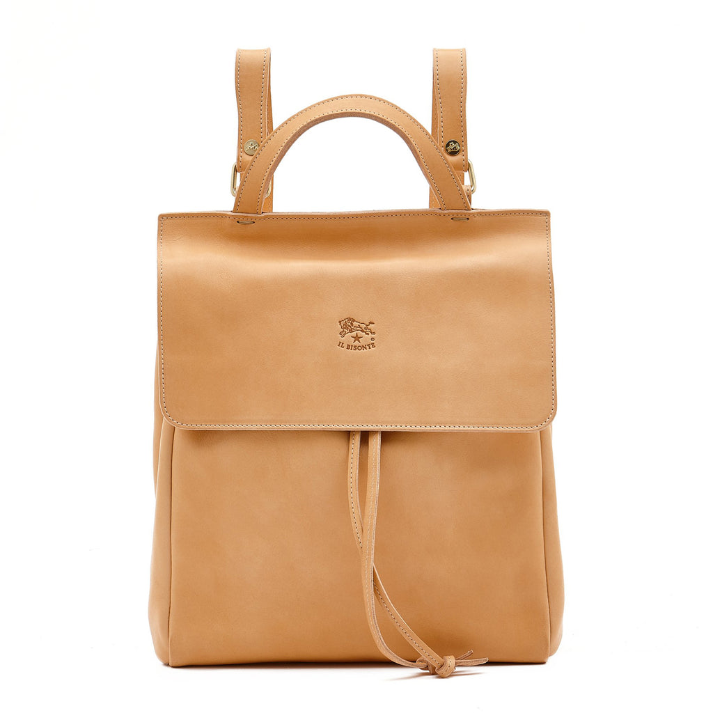 Il Bisonte Cowhide Leather Backpack, Natural