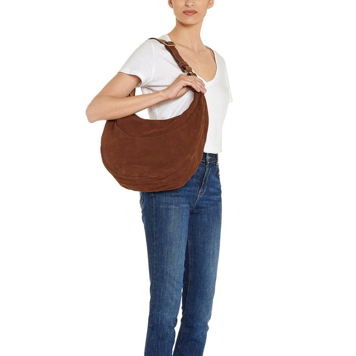 Il Bisonte Hobo Bag, Cognac Suede