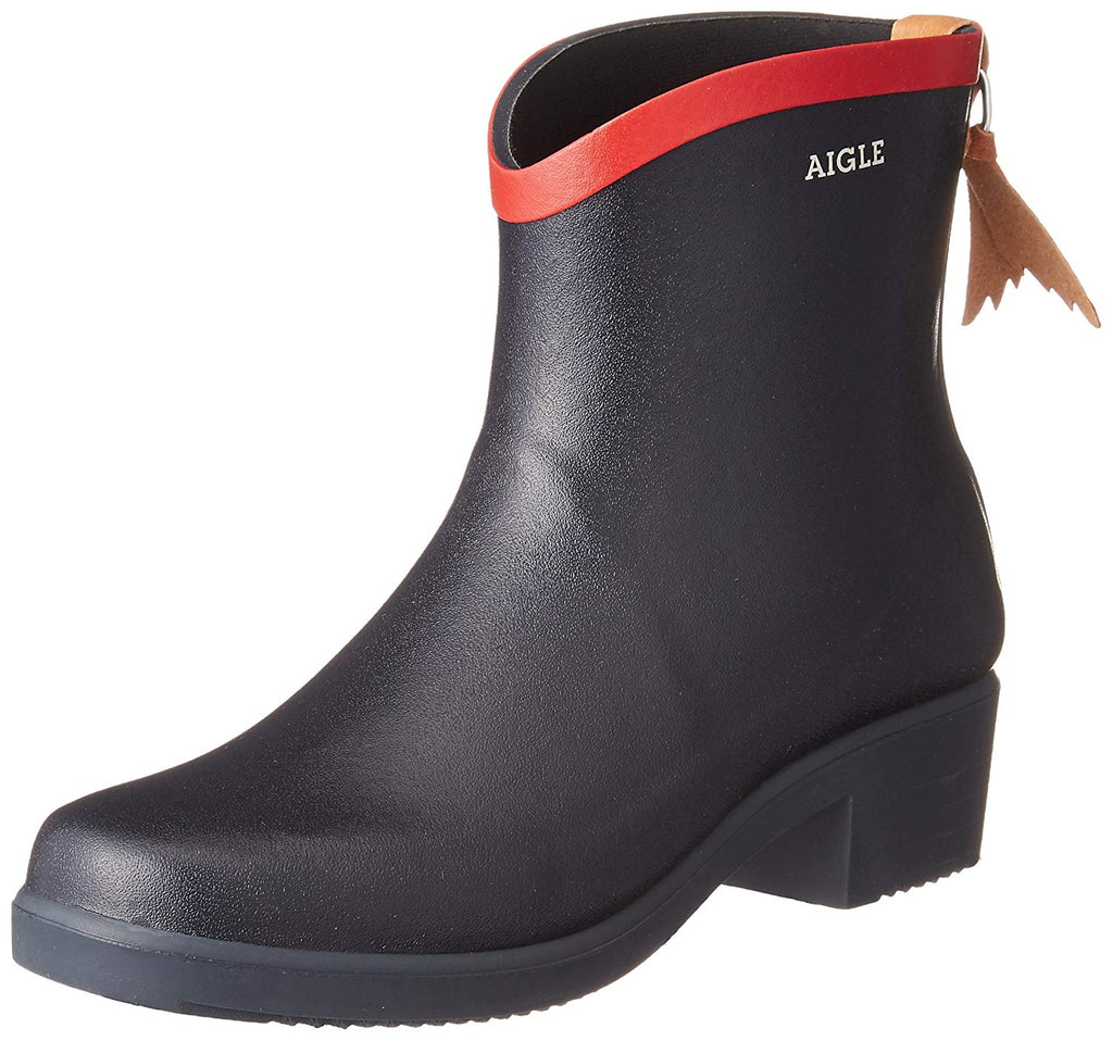 Aigle Miss Juliette Ankle Rain Boot, Navy/Red