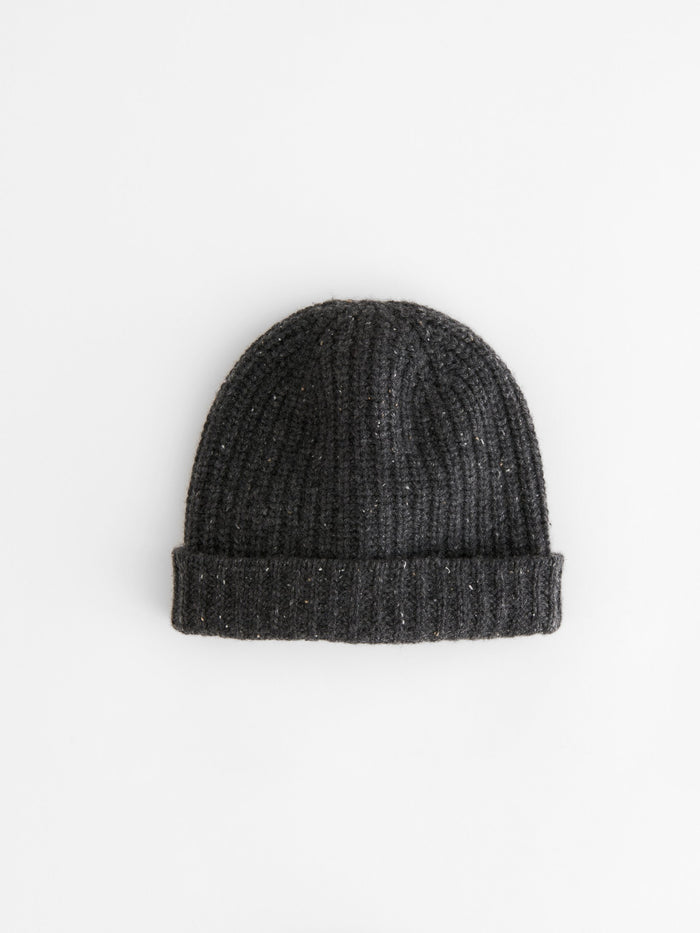Alex Mill Cashmere Solid Beanie, Dark Grey Donegal