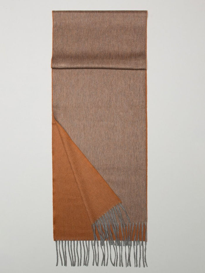 Begg & Co 100% Cashmere Woven Scarf Multi, Flannel/Rust