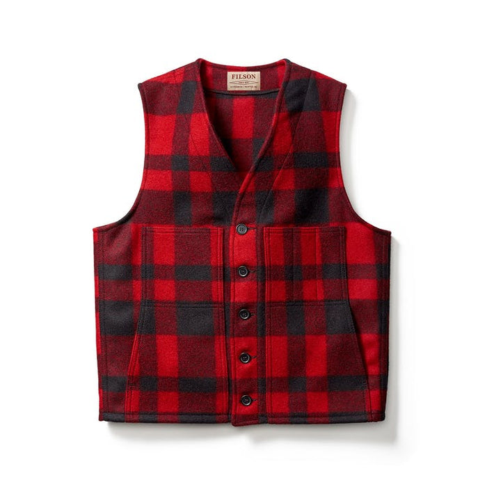Filson Mackinaw Wool Vest, Red/Black Plaid